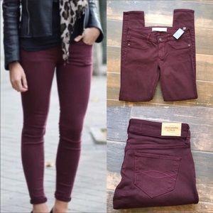 Abercrombie burgundy jeans NWT